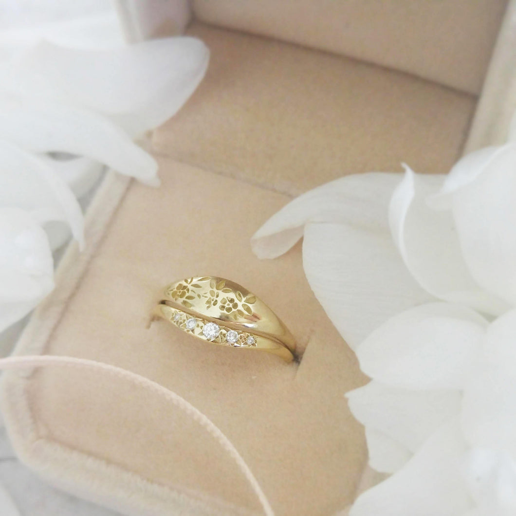 Floral engagement and wedding rings, 14k gold alternative bride ring set