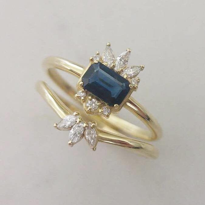 Sapphire engagement ring set, unique sapphire ring, emerald cut sapphire statement ring, alternative engagement ring