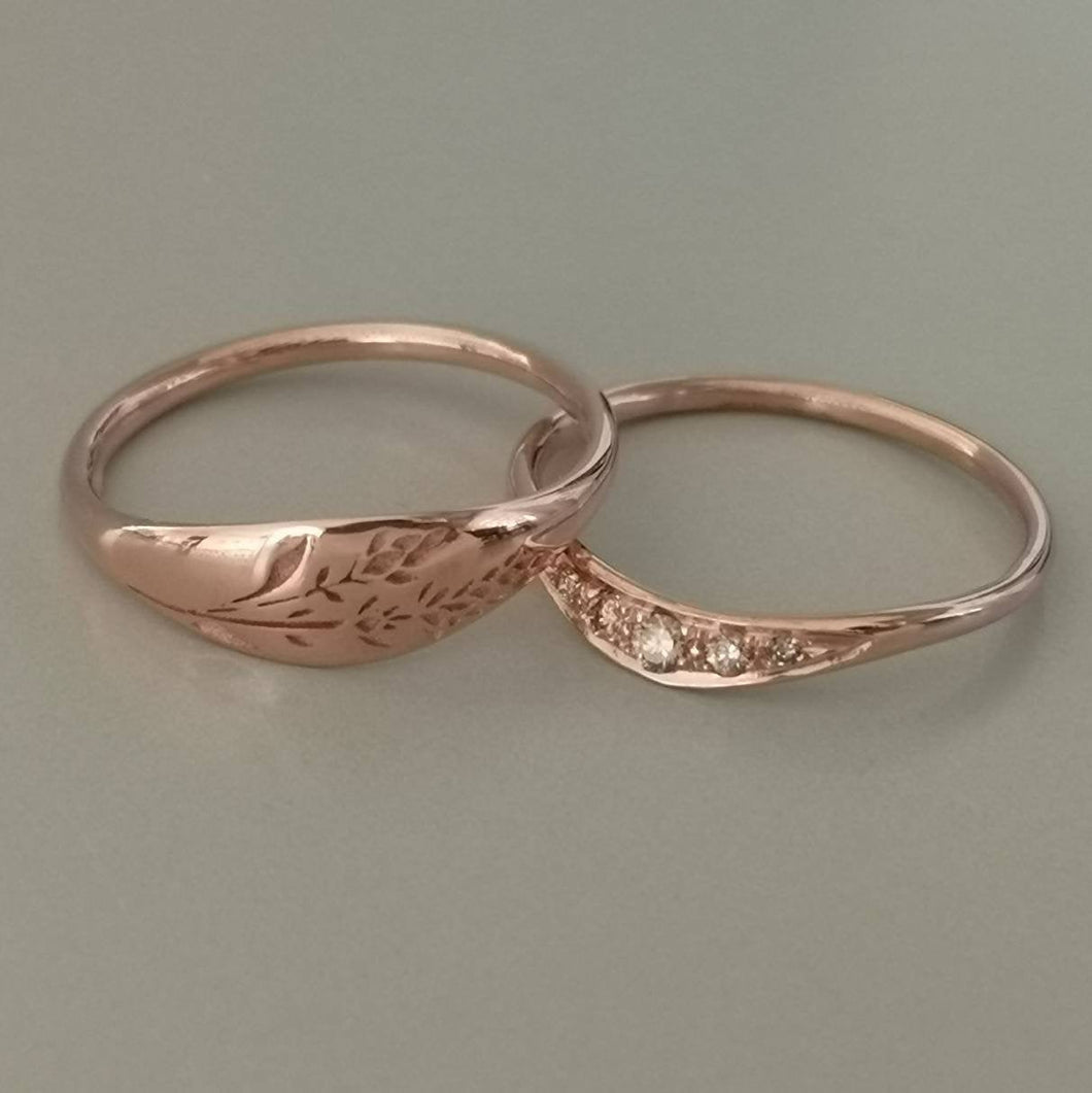 Floral wedding band set, rose gold and Cognac diamonds engagement ring, unique engagement and wedding ring set