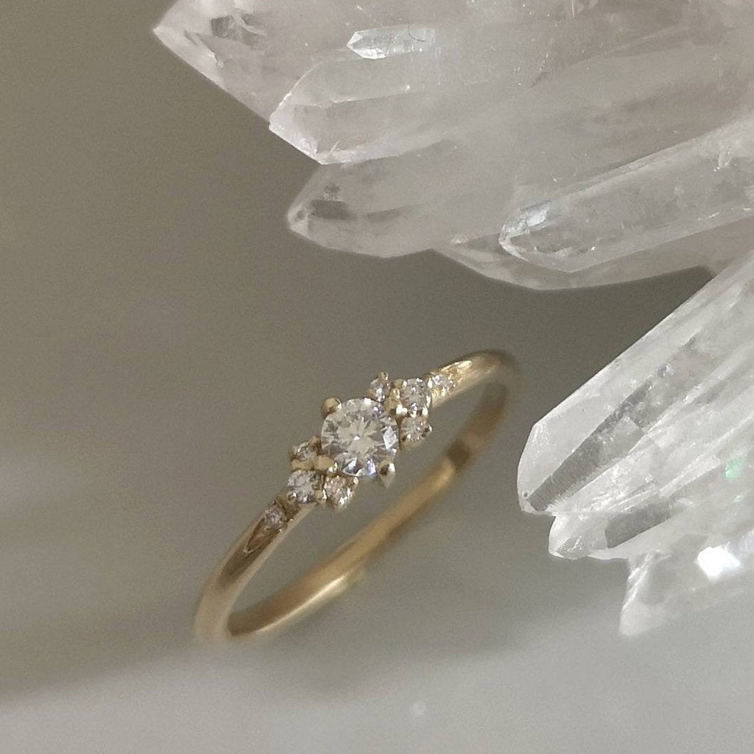 Delicate engagement ring, Dainty diamond ring, thin gold diamond ring, diamond wedding ring