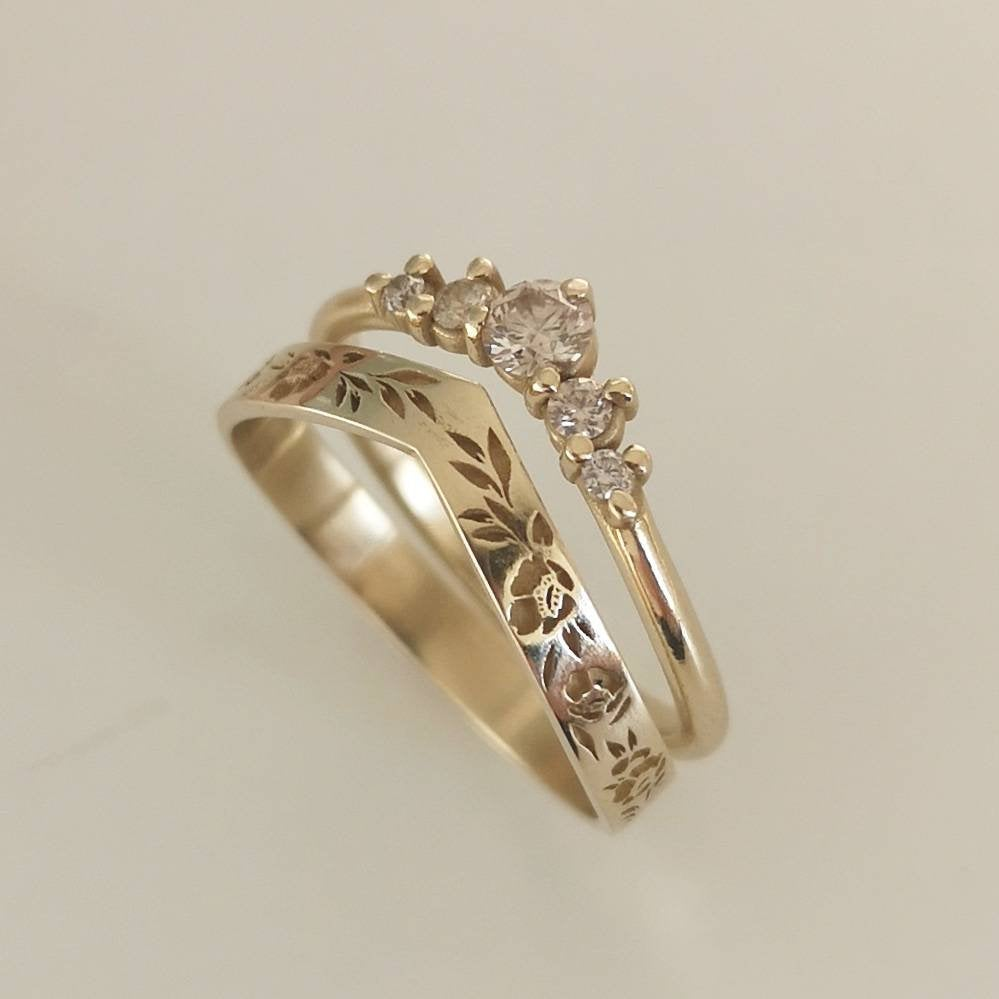 Wedding ring set, 14k vintage style floral band paired with a champagne diamond ring.