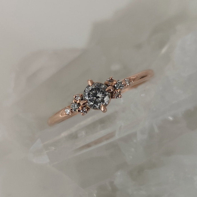 Salt and pepper diamonds engagement ring, Dainty diamond ring, rose gold diamond ring, alternative diamond wedding ring