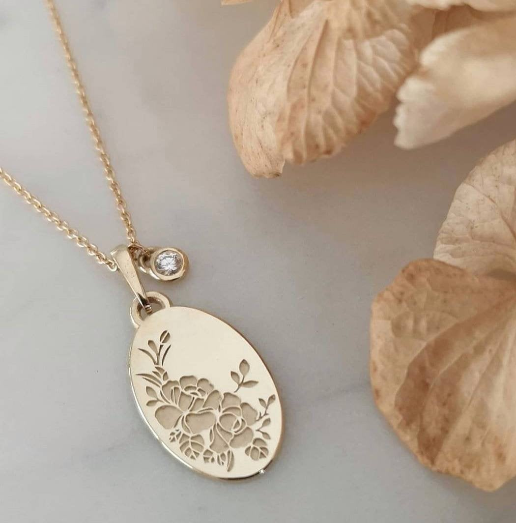 Rose necklace, 14k vintage style oval pendant and birthstone charm
