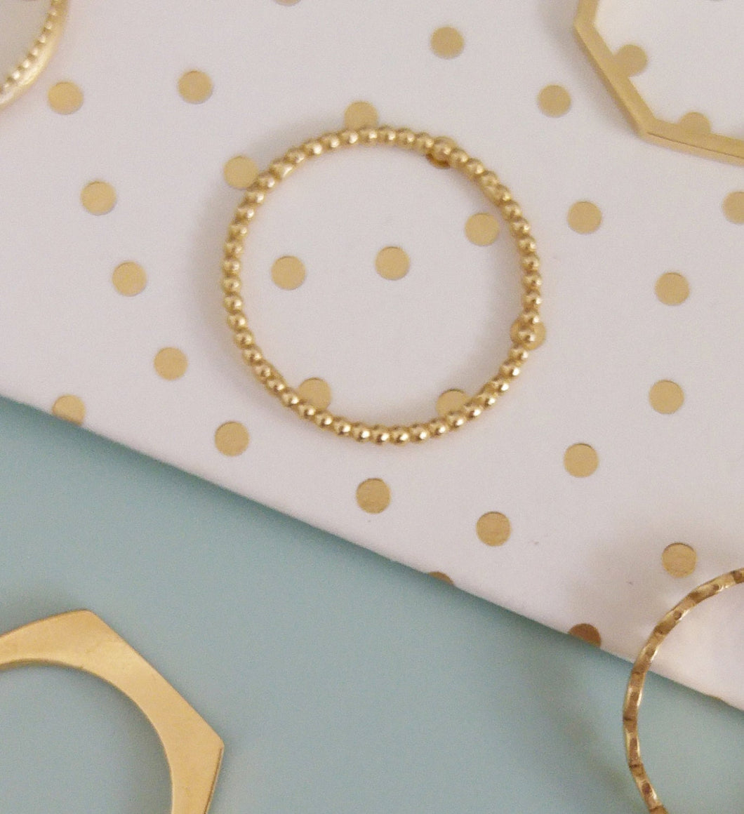 Ultra thin 14k gold dot ring, delicate gold ring for women, 14k gold stacking ring, gold baubble ring, connected dots ring