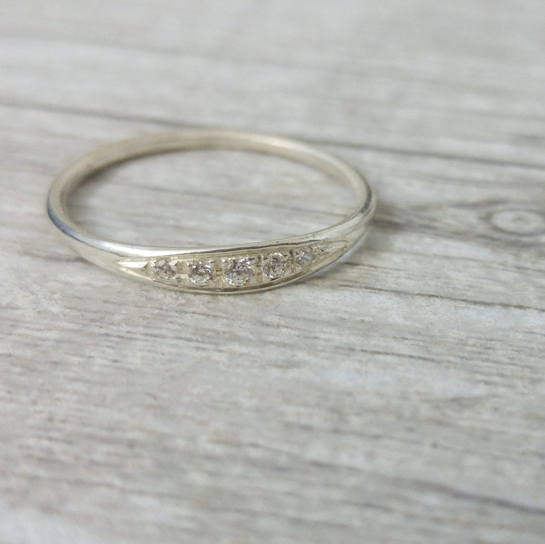 Delicate Engagement ring, elegant and unique engagement ring, 14k white gold diamond ring, vintage style engagement ring