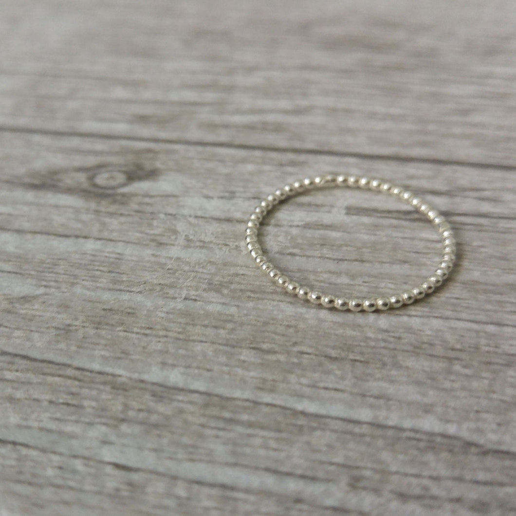 Ultra thin 14k gold dot ring, delicate gold ring for women, 14k gold stacking ring, gold baubble ring, connected dots ring, thin gold ring