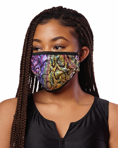 Rainbow Snake Skin Cloth Face Mask w/ Filter Pocket