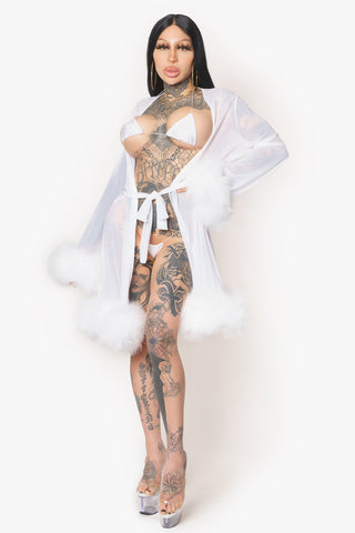 White Sheer Fur Robe