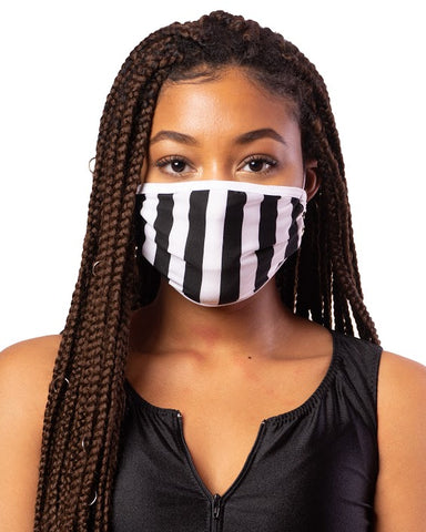 Black & White Referee Stripe Cloth Face Mask w/ Filter Pocket