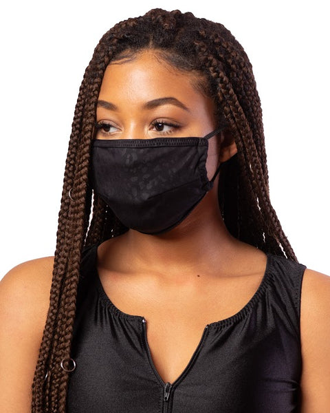 Black Cheetah Cloth Face Mask w/ Filter Pocket