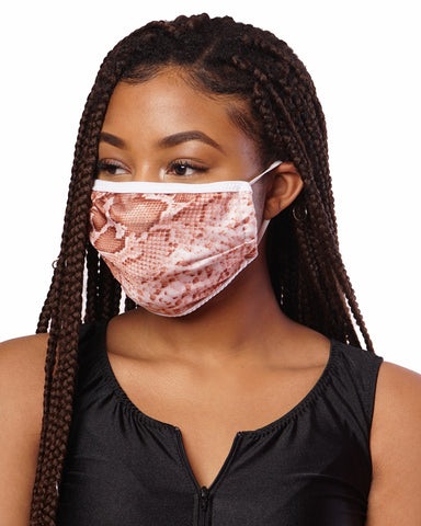 Nude Snake Skin Cloth Face Mask w/ Filter Pocket