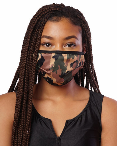 Camouflage Cloth Face Mask w/ Filter Pocket