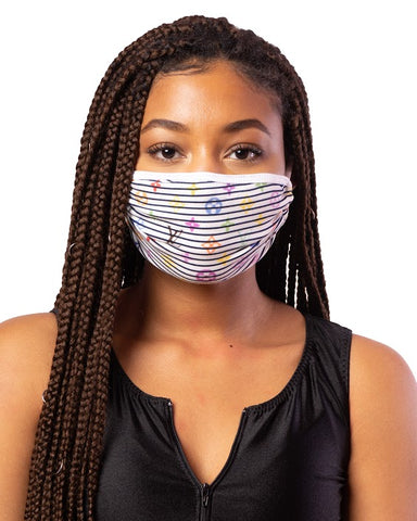 LV Multi Stripes Cloth Face Mask w/ Filter Pocket