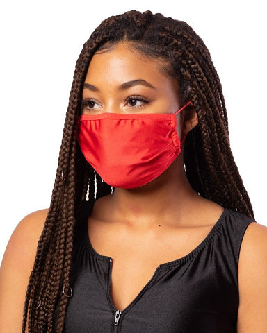 Red Cloth Face Mask w/ Filter Pocket