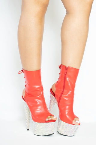 Red Diamonds ankle boot
