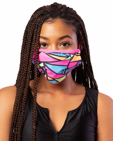 Pink Multi Cloth Face Mask w/ Filter Pocket