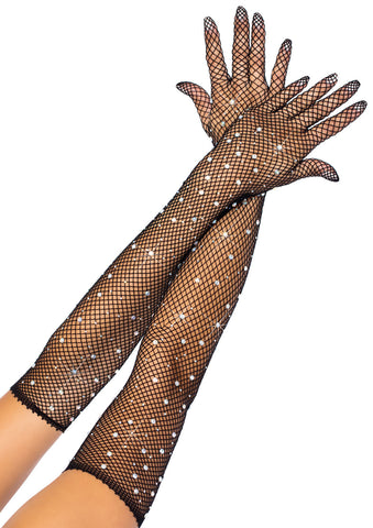 Black Rhinestone Fishnet Opera Length Gloves
