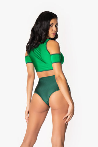 Lucky Green Tie up Crop Top and High Waisted Bottoms Set