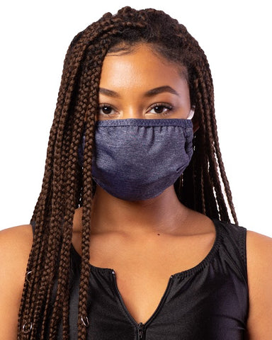 Denim Blue Cloth Face Mask w/ Filter Pocket