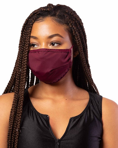 Burgundy Cloth Face Mask w/ Filter Pocket