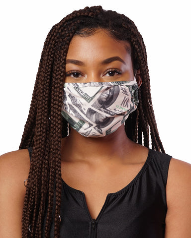 Money Print Cloth Mask w/ Filter Pocket
