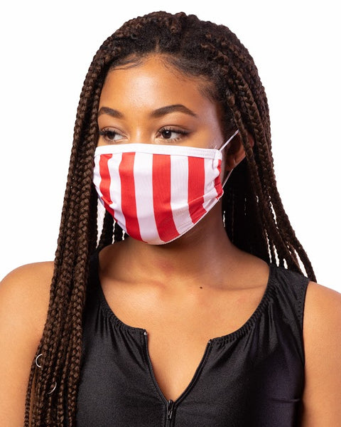 Red & White Stripe Cloth Face Mask w/ Filter Pocket
