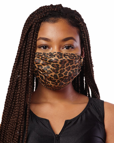 Glitter Cheetah Cloth Face Mask w/ Filter Pocket