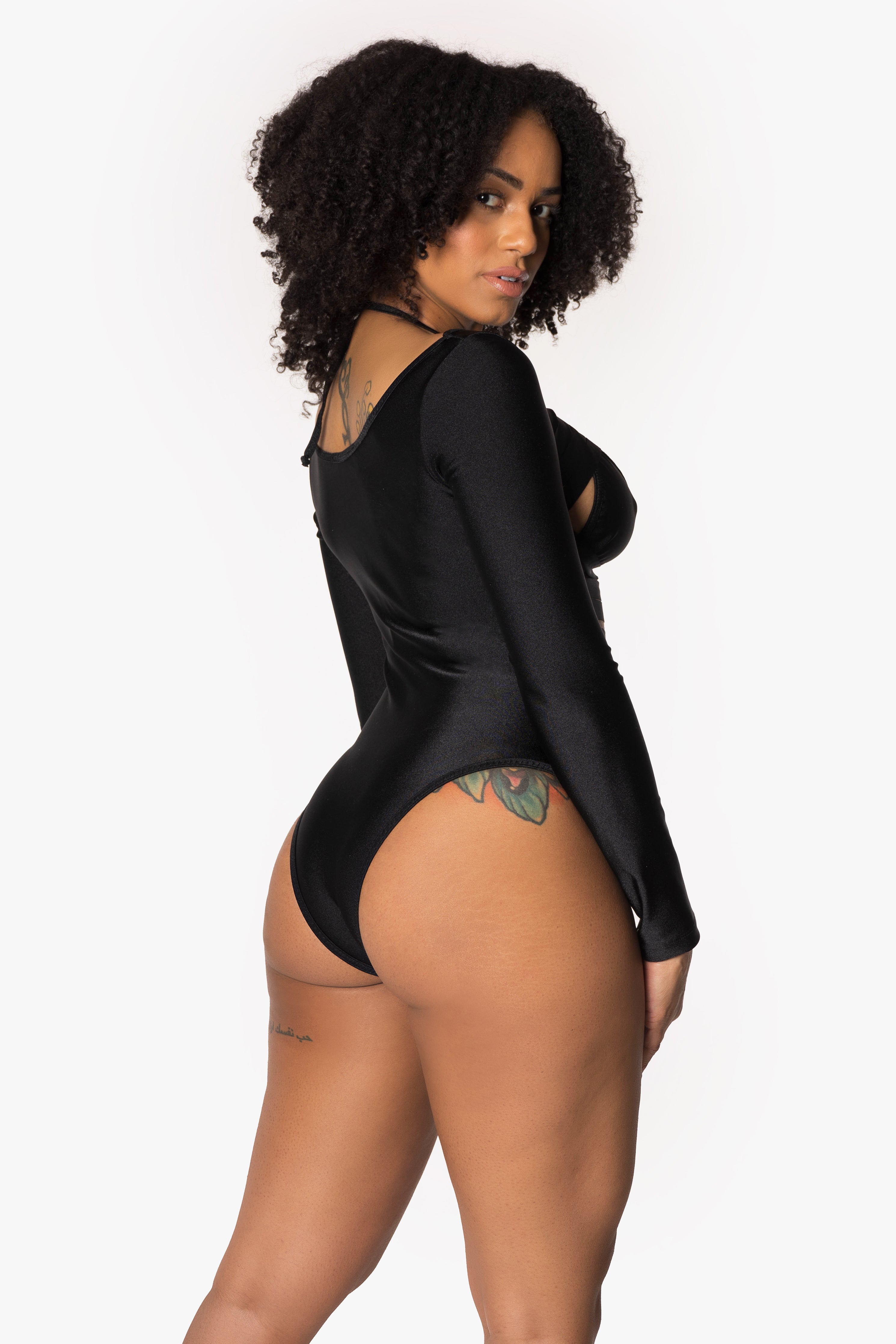 Black  Long Sleeve Slashed Front Bodysuit with Bikini Top