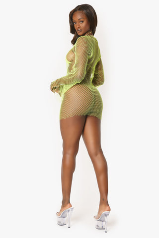 Neon Yellow Long Sleeve Crystal Rhinestone Net Mini Dress