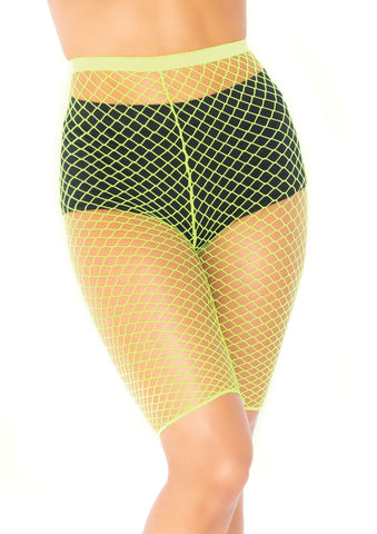 Neon Yellow Fishnet Biker Shorts