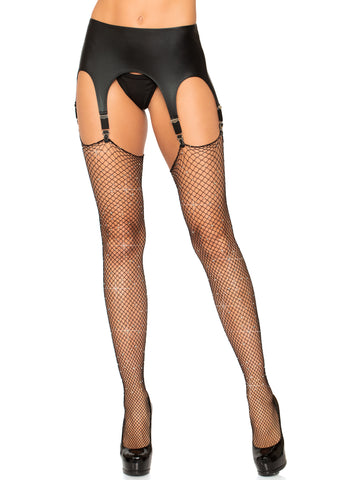 Black Rhinestone Fishnet Thigh Stockings