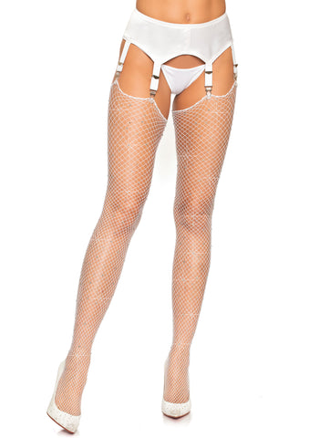 White Rhinestone Fishnet Thigh Stockings