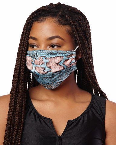 Turquoise Snake Skin Cloth Mask w/ Filter Pocket