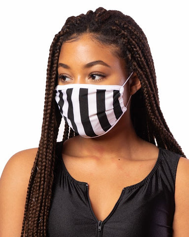 Black & White Stripe Cloth Face Mask w/ Filter Pocket