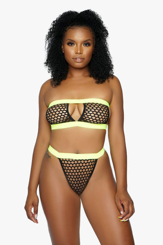 Black and Green Neon Fishnet Bandeau Bikini Set