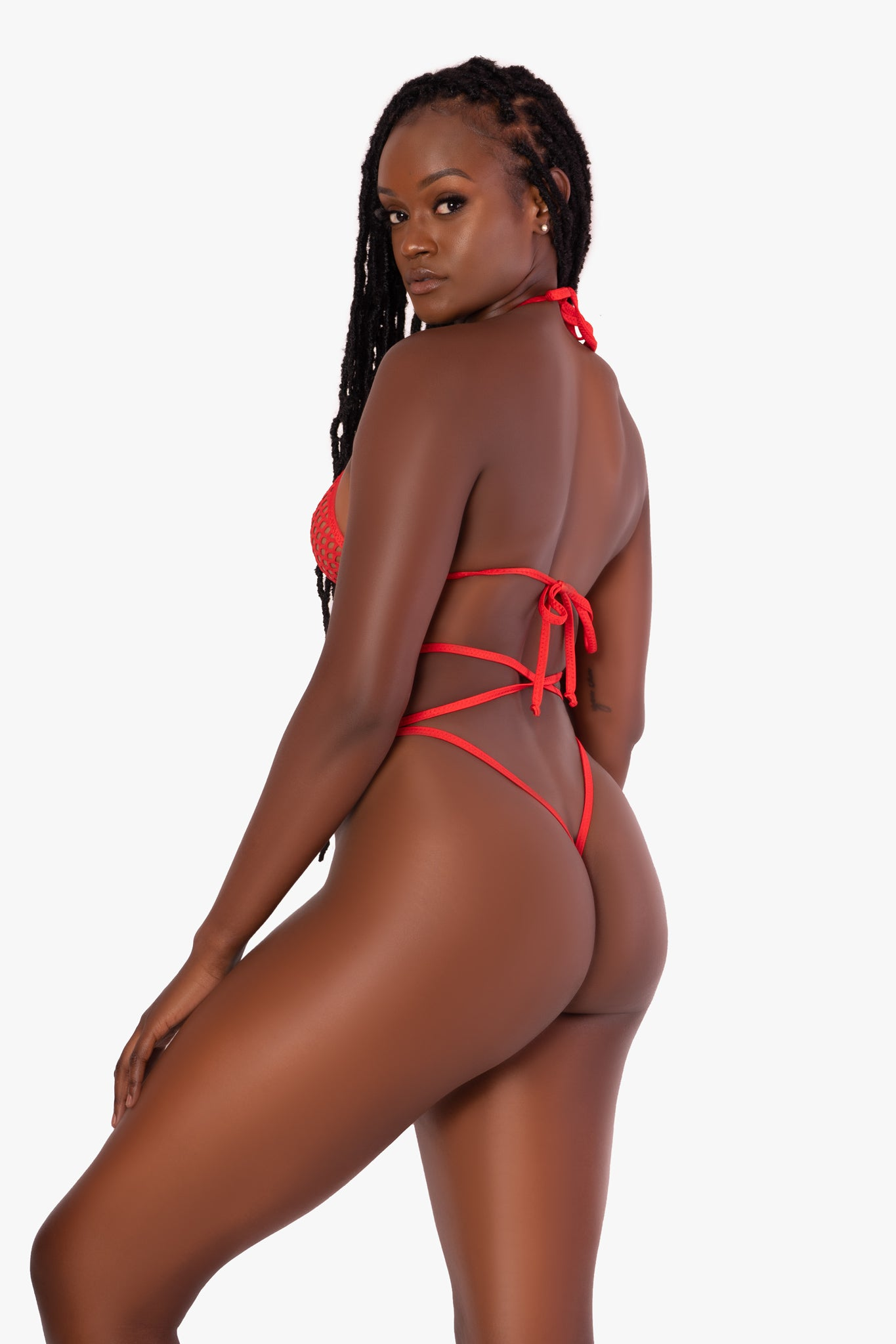Red Fishnet Set w/ Wrap around Thong