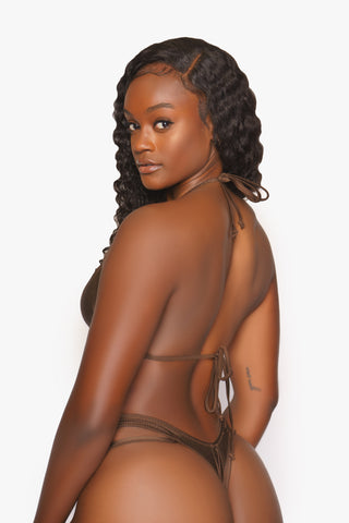 Chocolate Brown Triangle Halter Bikini Top