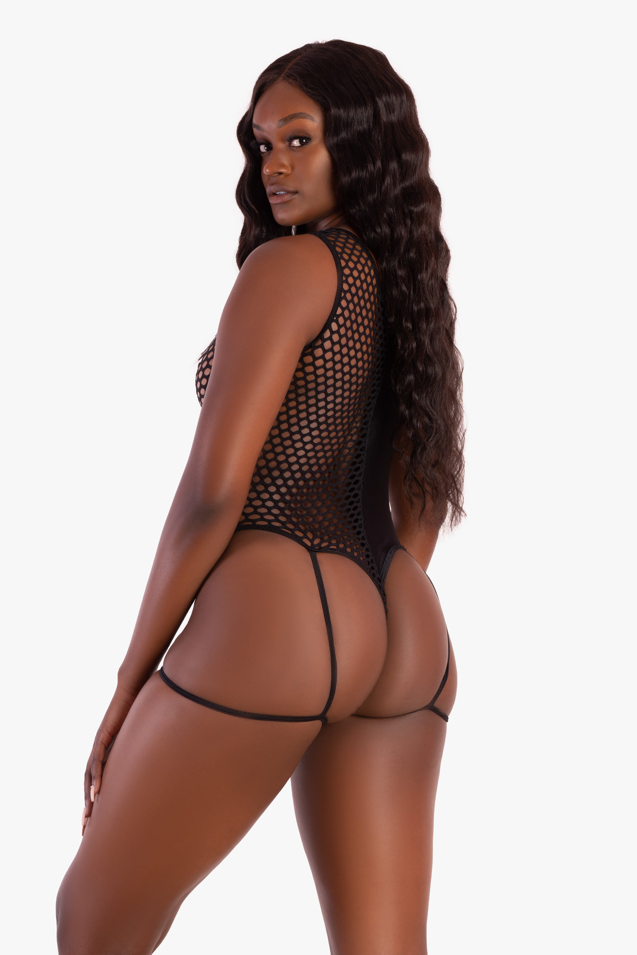 Black Half and Half Garter Bodysuit