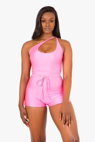 Pink Back Lace Up Romper