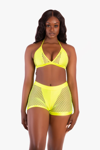 Neon Yellow Insert Fishnet Shorts Set