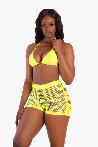 Neon Yellow Slashed Butt Fishnet Shorts