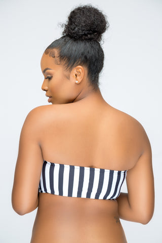 White and Black Stripe Tube Bandeau Top