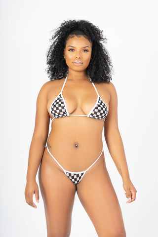Checkerboard See Through Micro Bikini Set