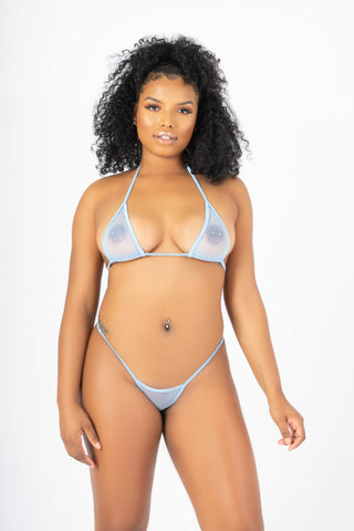 Cool Blue Fishnet Bikini Set