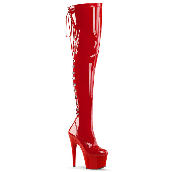 Red Patent Leather Lace-Up Platform Thigh Boot