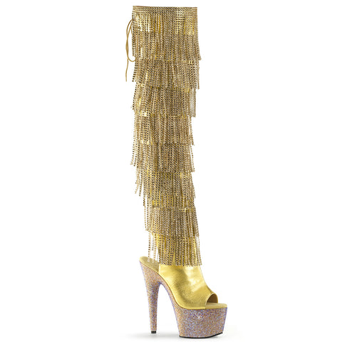 Gold Rhinestone Platform Sequence Fringe Thigh Boots