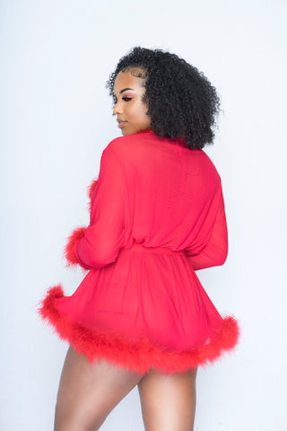 Red Pixie Fur Robe
