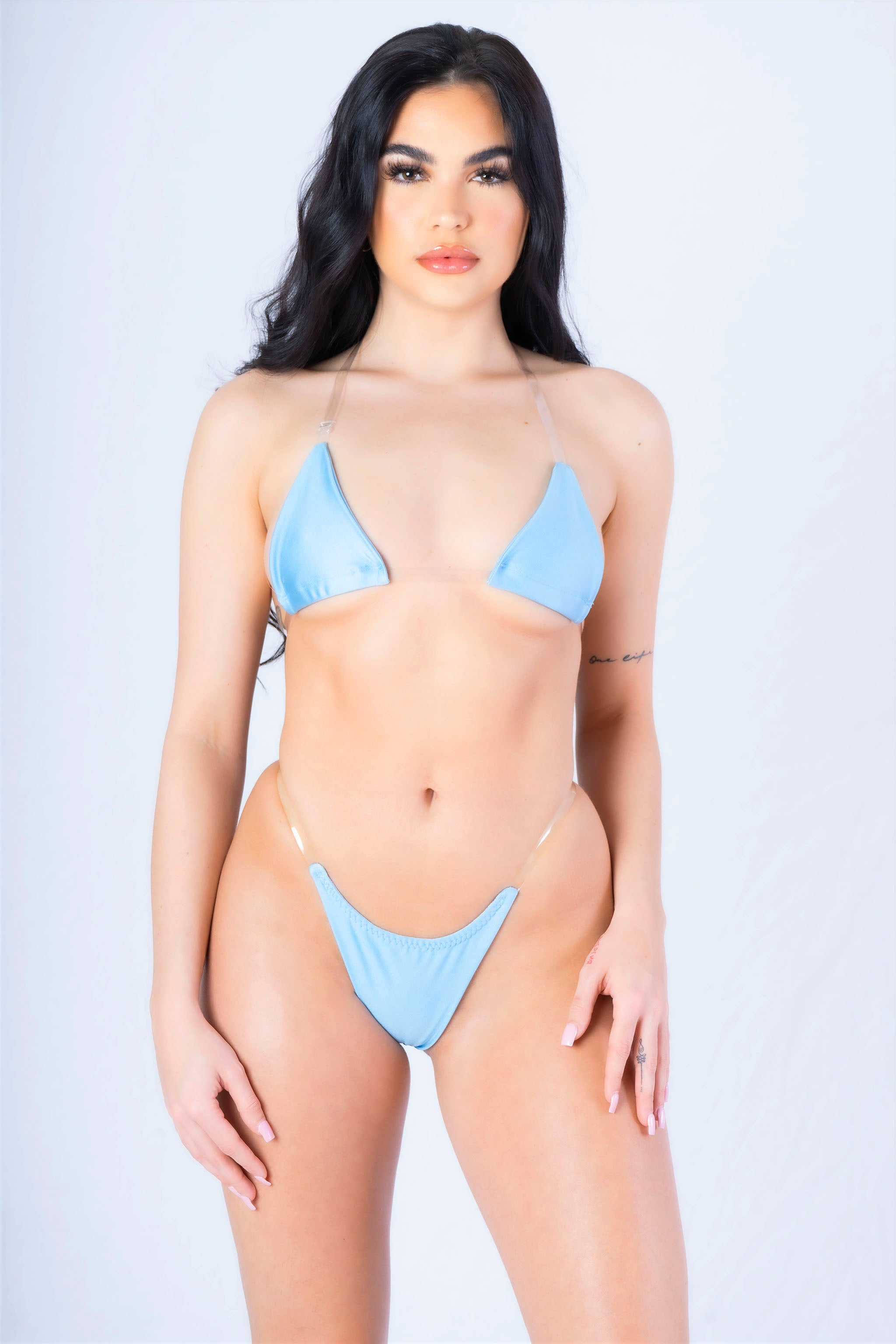 Cool Blue Clear Bralette Bikini Set