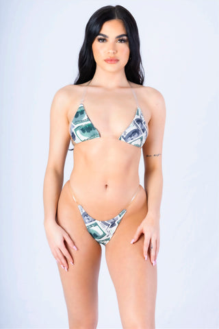 Money Print Clear Bralette Bikini Set
