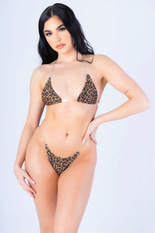 Cheetah Print Clear Bralette Bikini Set